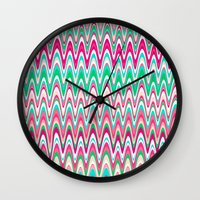 preppy Wall Clocks featuring Making Waves Pink and Preppy by Shawn King