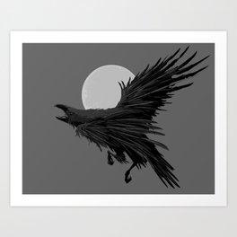 Crow & Moon Art Print