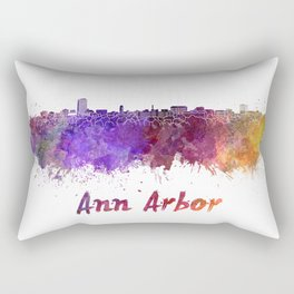 Ann Arbor skyline in watercolor Rectangular Pillow