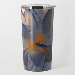 Midnight Blue Polka Dot Floral Abstract Travel Mug