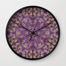 Purple Lace Pattern Wall Clock