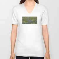 monet V-neck T-shirts featuring Claude Monet - Water Lily Pond 1919 by Elegant Chaos Gallery