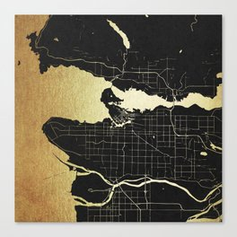 Vancouver Canada Black and Gold Map Canvas Print