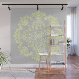 Pale Lemon Yellow Lace Mandala on Grey Wall Mural