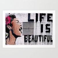 Life is Beautiful Banksy Mr Brainwash graffiti street art Art Print