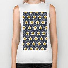 abstract white flower pattern Biker Tank