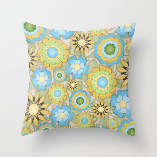 English Country Floral Throw Pillow