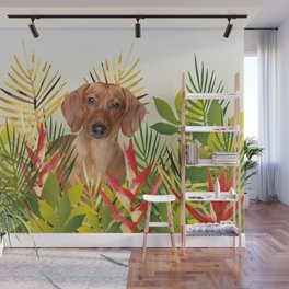 Little Dog with with Palm leaves Wall Mural