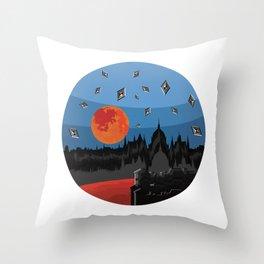 Budapest Super Moon Throw Pillow
