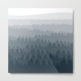 Blue Ombré Forest Metal Print