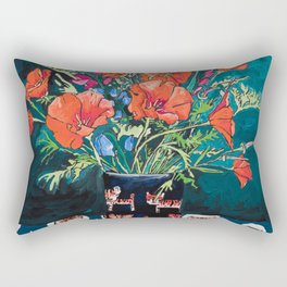 California Poppy and Wildflower Bouquet on Emerald with Tigers Still Life Painting Rectangular Pillow