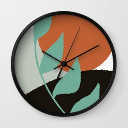 Botanical Sunset Abstract, At the Shore Palette Wall Clock