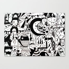 black and white urban monsters Canvas Print