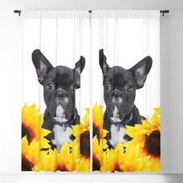 French Bulldog with sunflowers Blackout Curtain