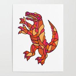Crocodile Prancing Mosaic Color Poster