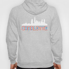 Red White Blue Charlotte North Carolina Skyline Hoody