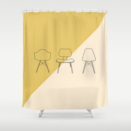 Eames Chairs // Mid Century Modern Minimalist Illustration Shower Curtain