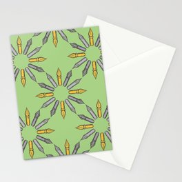 Dip Pen Nibs Circle (Green, Yellow, Grey) Stationery Cards