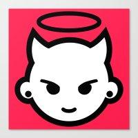 emoji Canvas Prints featuring Devious emoji by hello Malcolm