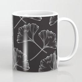 White on Black Ginkgo Leaves Coffee Mug