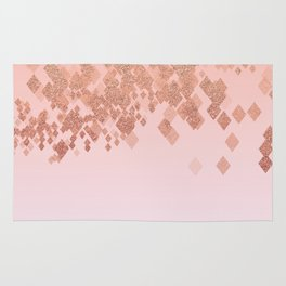 Light Salmon Pink Gradient Faux Glitter Diamonds Rug