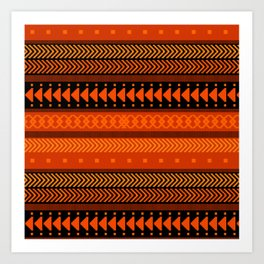 Under the Volcano - tribal geometrics Art Print