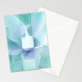 Soft Geo Agave - Aqua and blue Stationery Cards