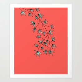 Coral and Teal Botanical Print by Emma Freeman Designs Art Print