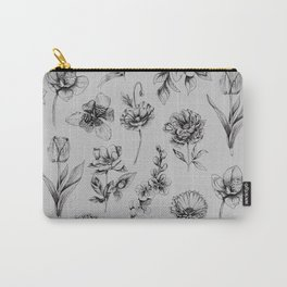 Botanink Pattern Grey Carry-All Pouch