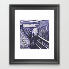 The Scream's Haze (dark blue) Framed Art Print
