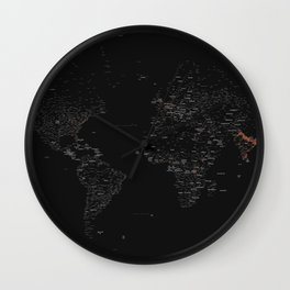 Black And White World Map Typography Poster Wall Clock