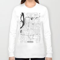 memphis Long Sleeve T-shirts featuring Memphis Map Gray by City Art Posters