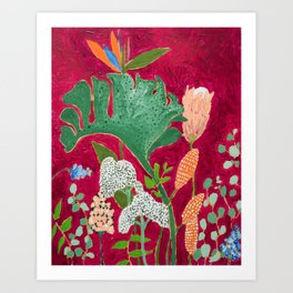 Fuchsia Pink Floral Jungle Painting Art Print
