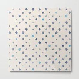 LOTS OF DOTS / linen beige / indigo blue / blue grey / cerulean Metal Print