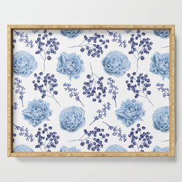 Sky Blue Roses Serving Tray