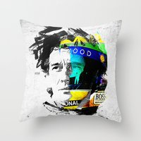 senna Throw Pillows featuring Ayrton Senna do Brasil - White & Color Series #4 by Universo do Sofa - Artes & Etecetera