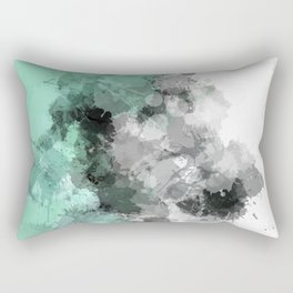 Mint Green Paint Splatter Abstract Rectangular Pillow