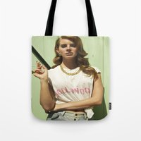 hollywood Tote Bags featuring Hollywood by Michelle Rosario