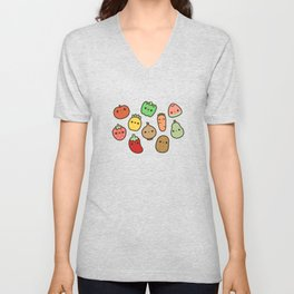 Cute fruit and veg Unisex V-Neck