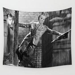 Jason Vorhees sings in the rain Wall Tapestry