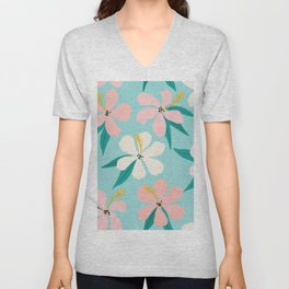 Sweet Tropical Flower Pattern on Sky Blue Unisex V-Neck