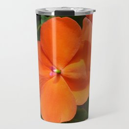 Vivid Orange Vermillion Impatiens Flower Travel Mug