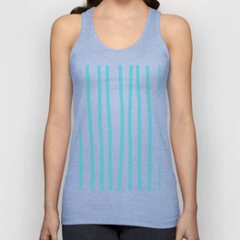 Simply Drawn Vertical Stripes in Seaside Blue Unisex Tank Top
