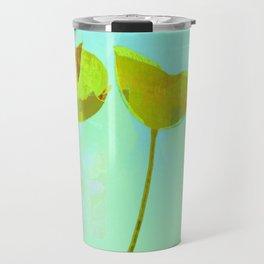 6 yellow flowers on turquoise Travel Mug