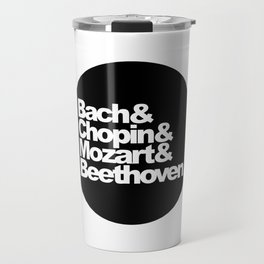 Bach and Chopin and Mozart and Beethoven, sticker, circle, black Travel Mug