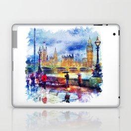 London Rain watercolor Laptop & iPad Skin