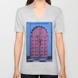 Pink Door In The Blue City, Jodhpur Unisex V-Neck