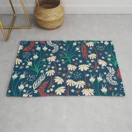 Mid Century Summer Floral Daisy Pattern Rug