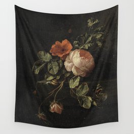 Botanical Rose And Snail Wall Tapestry