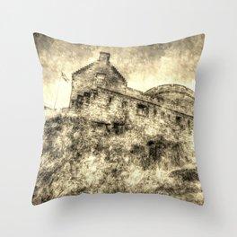 Edinburgh Castle Vintage Throw Pillow